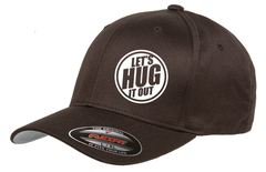 Brown hat with white logo of let's hug it out