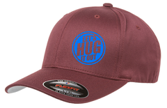 Maroon hat with blue logo of let's hug it out