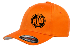 Orange hat with black logo of let's hug it out