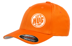 Orange hat with white logo of let's hug it out