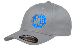 silver hat with blue logo of let's hug it out