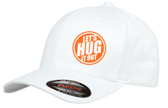 White hat with orange logo of let's hug it out