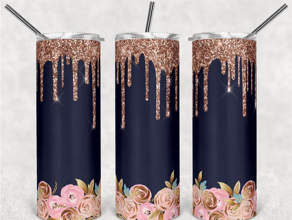 Rose Gold Glitter Effect & Floral Stainless Steal Tumbler