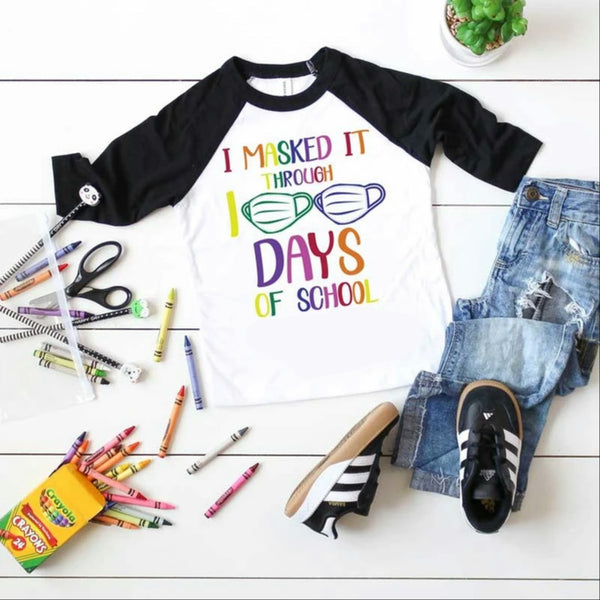 Toddler-Adult I Masked It Through 100 Days Of School Graphic Raglan
