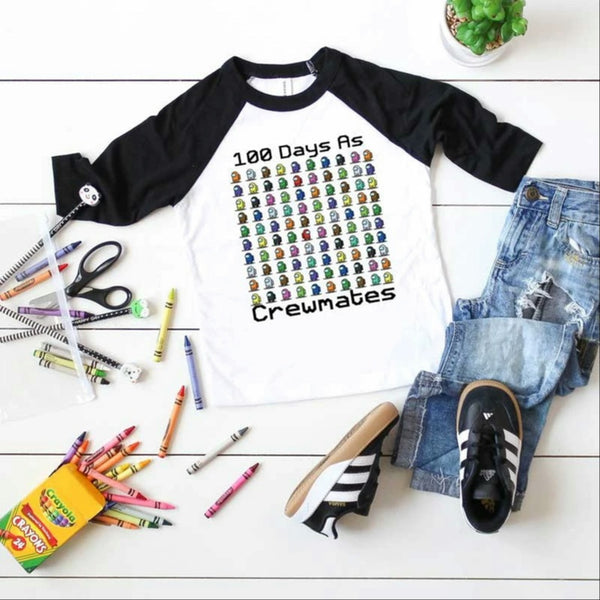 Toddler-Adult 100 Days As Crewmates Graphic Raglan