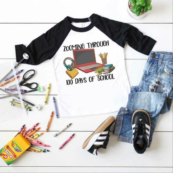 Toddler-Adult Zooming Through 100 Days Of School Graphic Raglan