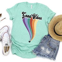 Youth & Adult Good Vibes Rainbow Graphic Tee
