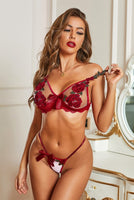 Red Floral Bra & Panty Set