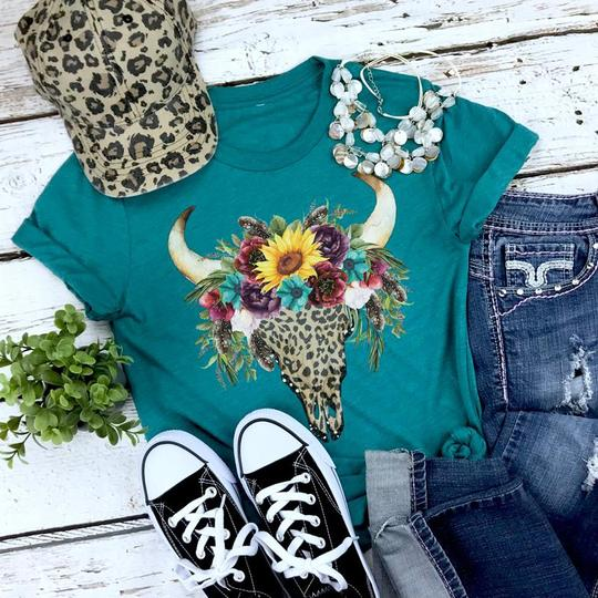 Youth & Adult Floral Leopard Skull Graphic Tee