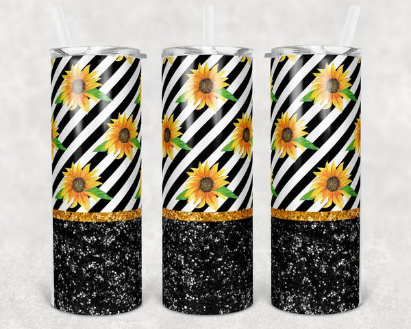 Sunflower & Black Glitter Effect Stainless Steal Tumbler