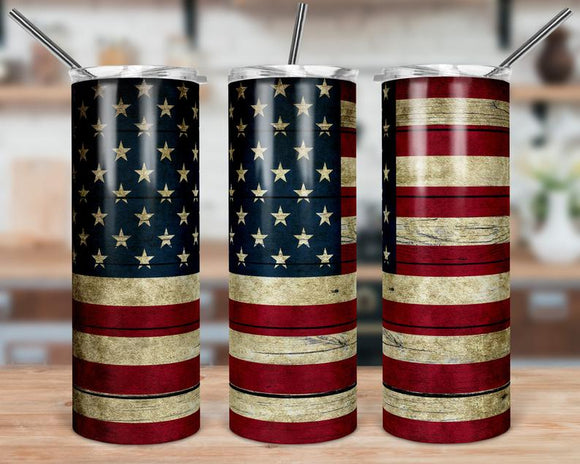 Rustic American Flag Stainless Steal Tumbler