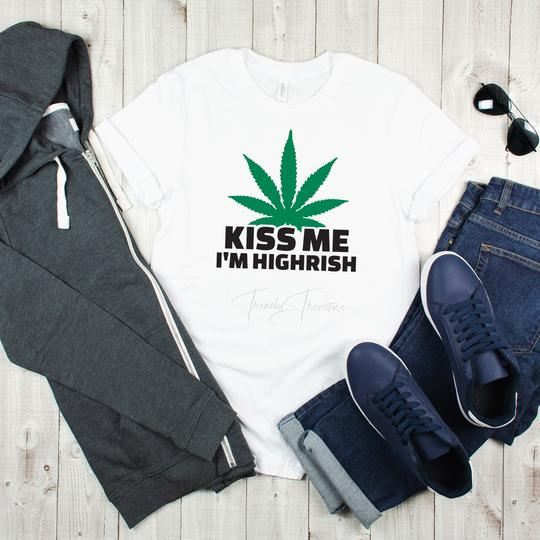 Adult Kiss Me I'm Highrish Graphic Tee