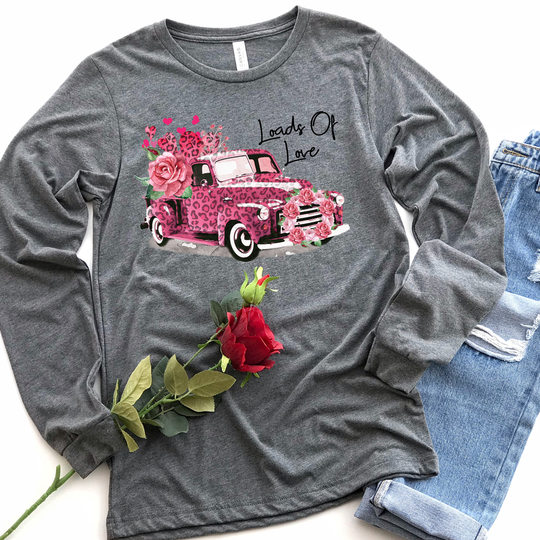 Youth & Adult Pink Leopard Truck Long Sleeve Graphic Tee