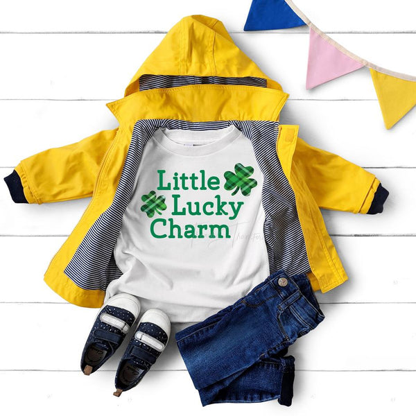 All Sizes Lucky Little Charm Plaid Graphic Onesie or Tee