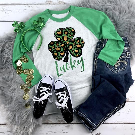 Youth & Adult Leopard Clover Graphic Raglan