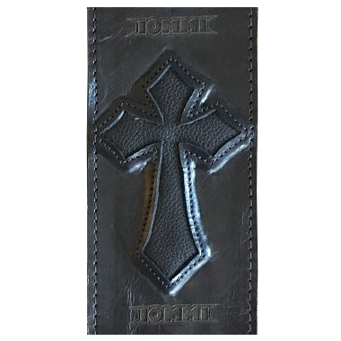 TONY IOMMI BLACK SABBATH HEAVY LEATHER NYC CUSTOM IRON CROSS SIGNATURE SG GUITAR STRAP MADE IN THE USA