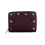 CUSTOM MAROON RED AMERICANA EASY RIDER STUDDED VINTAGE STYLE 1960'S 1970'S 1980'S ROCKABILLY PUNK HEAVY METAL ROCK 'N' ROLL WALLET HEAVY LEATHER NYC MADE IN THE USA