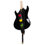 CARL HARVEY TOOTS AND THE MAYTALS CUSTOM HEAVY LEATHER JAMAICAN FLAG HEART ONE LOVE GUITAR STRAP MADE IN THE USA