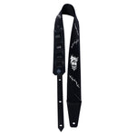 CUSTOM BLACK STITCHES VEGAN VINYL DOYLE WOLFGANG VON FRANKENSTEIN MISFITS VINTAGE STYLE 1970'S 1980'S PUNK HEAVY METAL ROCK 'N' ROLL SIGNATURE GUITAR STRAP HEAVY LEATHER NYC MADE IN THE USA