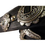 CUSTOM LEMMY KILMISTER MOTORHEAD BLACK BROWN STAMPED CONCHO VINTAGE STYLE 1970'S 1980'S 1990'S PUNK HEAVY METAL ROCK 'N' ROLL GLAM BASS RICKENBAKER GUITAR STRAP HEAVY LEATHER NYC MADE IN THE USA