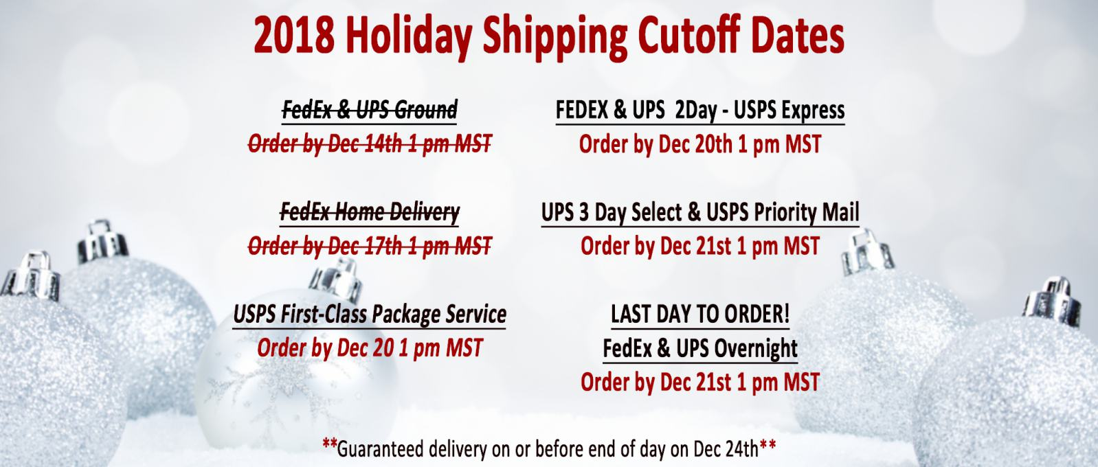 Sonoran Spice 2018 Holiday Shipping Dates
