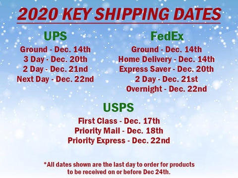 2020 Holiday Shipping Dates