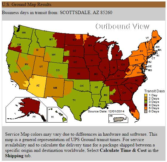 USA Estimated Delivery Maps Sonoran Spice - Ups shipping time map