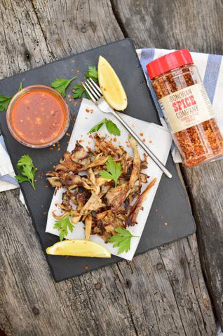 "Oyster Mushrooms ""Chicken"" with Sweet Chili Sauce"