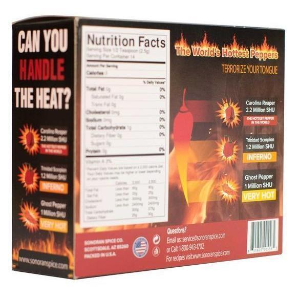 Carolina Reaper - Trinidad Scorpion - Ghost Pepper Flakes Gift Box Spice Gift Sonoran Spice