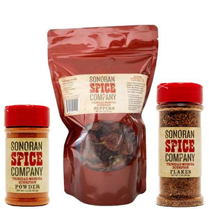 Trinidad Scorpion Peppers, Powder and Flakes Spice Gift Set Trinidad Scorpion Sonoran Spice