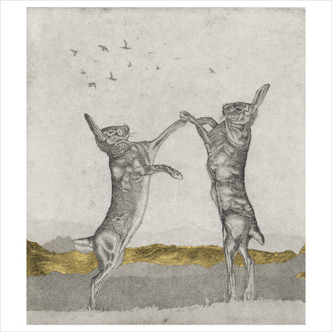 Boxing hares by Guy Allen