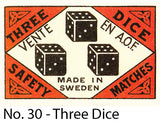 A Matchbox Collector's Card - No. 30 - Three Dice