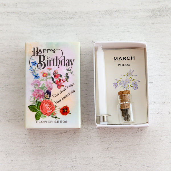 March Birth Flower Phlox Seeds And Birthday Candle Gift