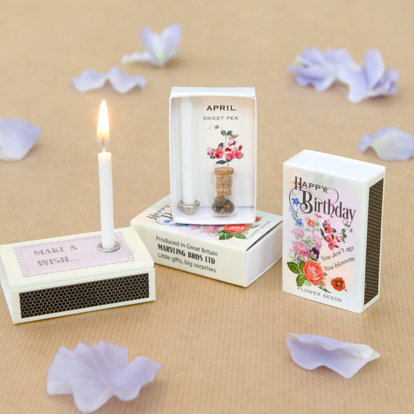 April Birth Flower Sweet Pea Seeds And Birthday Candle
