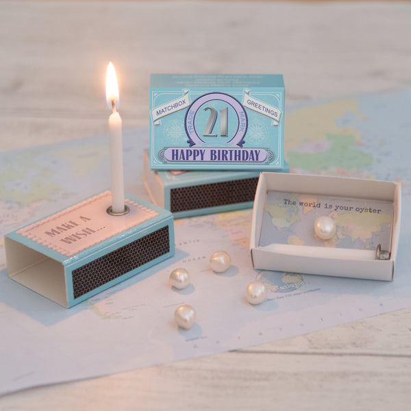 Happy  21st Birthday Candle And Freshwater Pearl Gift
