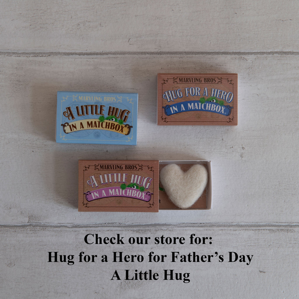 a needle felt heart in a little  hug gift matchbox - blue version, pink craft version and hero version