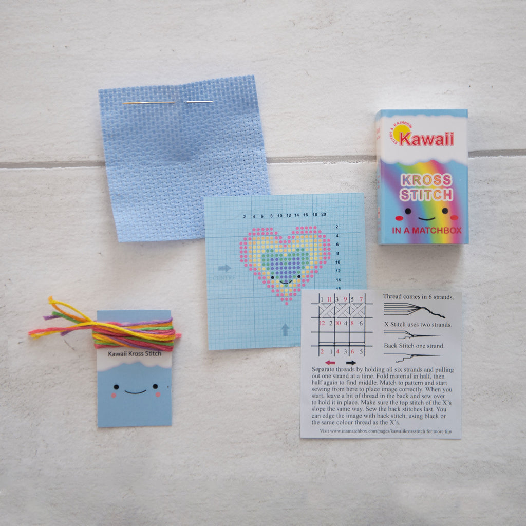 Kawaii Rainbow Heart Mini Cross Stitch Kit