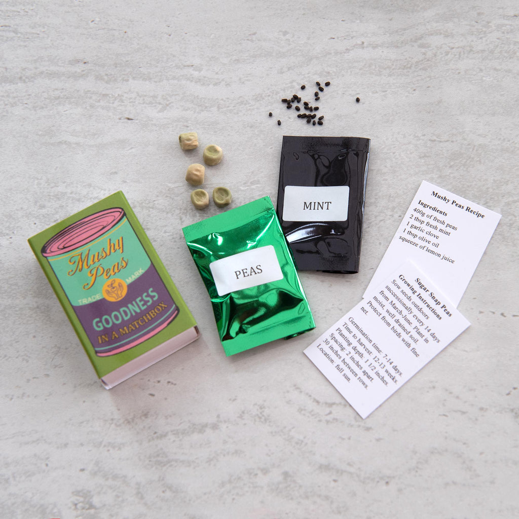 Grow Your Own Mushy Peas Seed Kit In A Matchbox