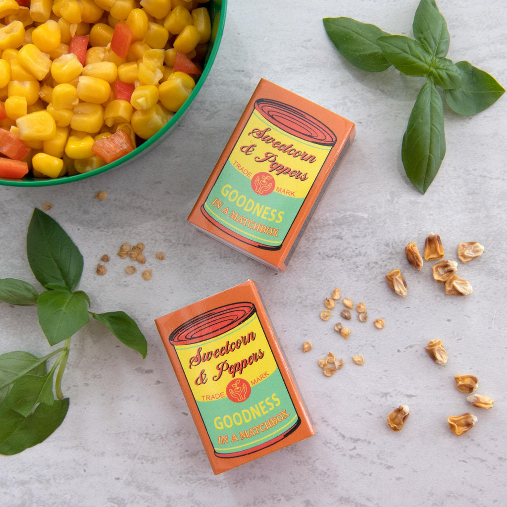 Grow Your Own Sweetcorn and Peppers Seed Kit In A Matchbox