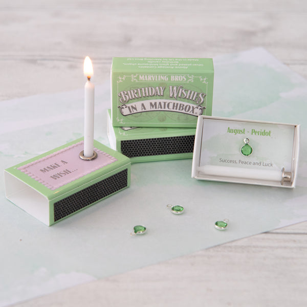 August Peridot Birthstone And Birthday Candle Gift