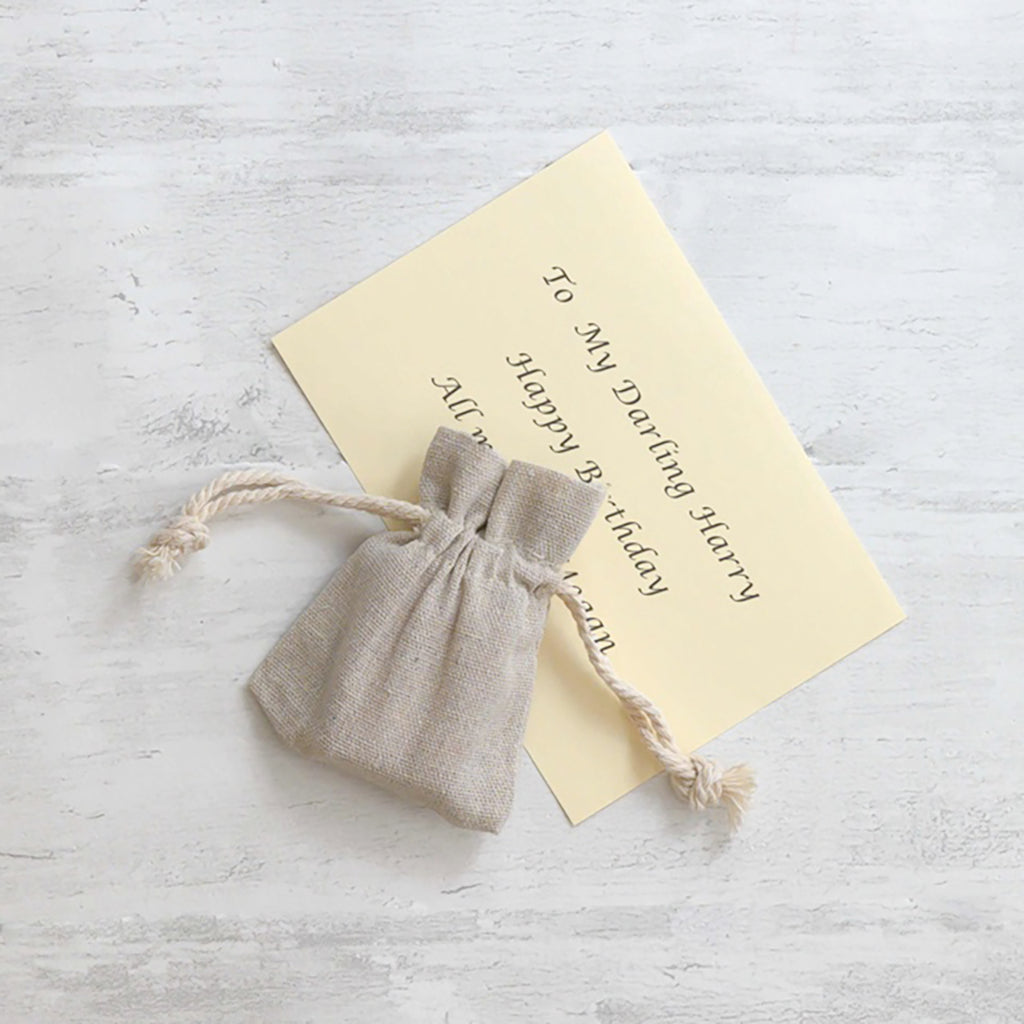 Linen gift bag and cream A6 gift message card