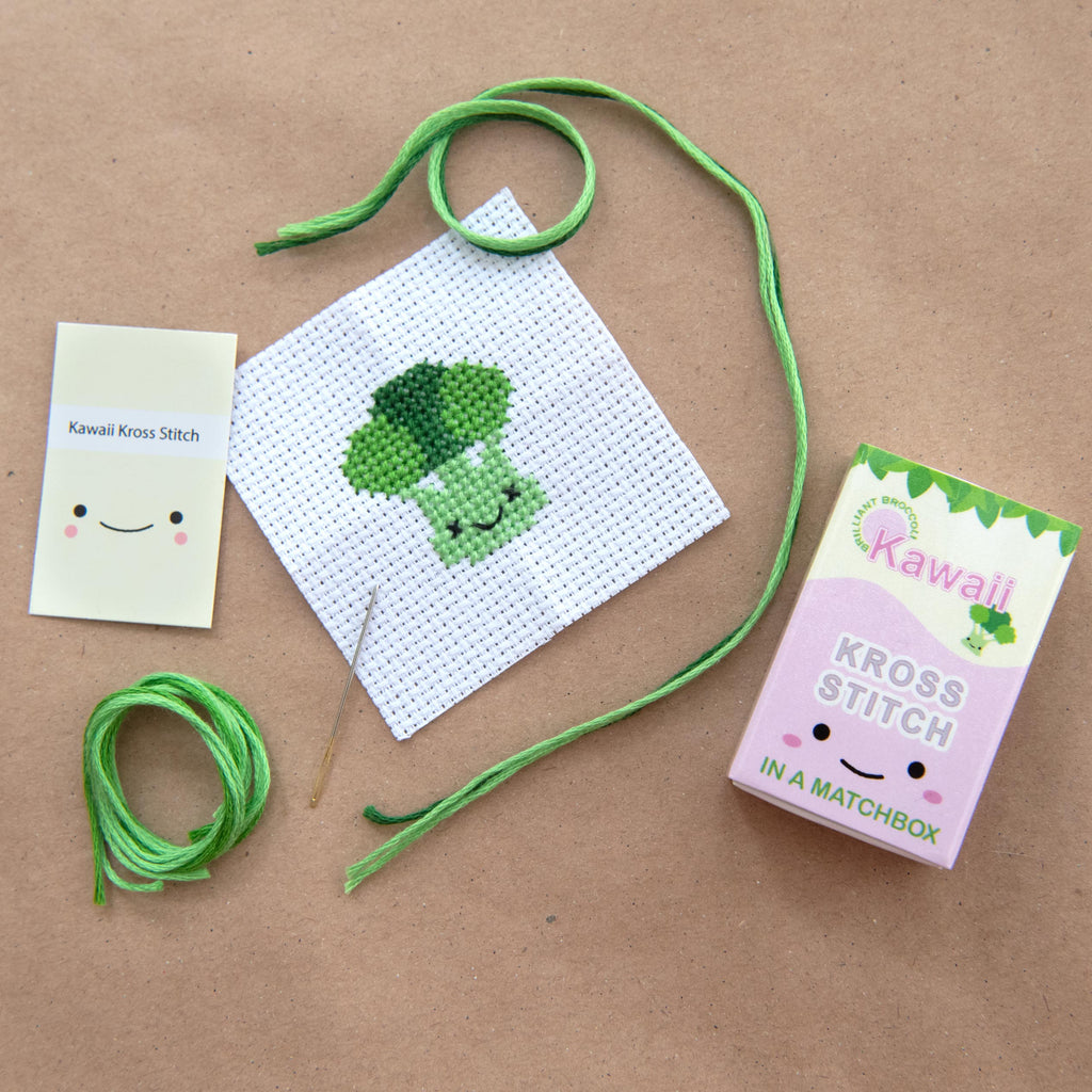 Mini Cross Stitch Kit With Kawaii Broccoli Design
