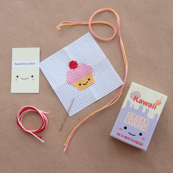 Mini Cross Stitch Kit With Kawaii Cup Cake Design