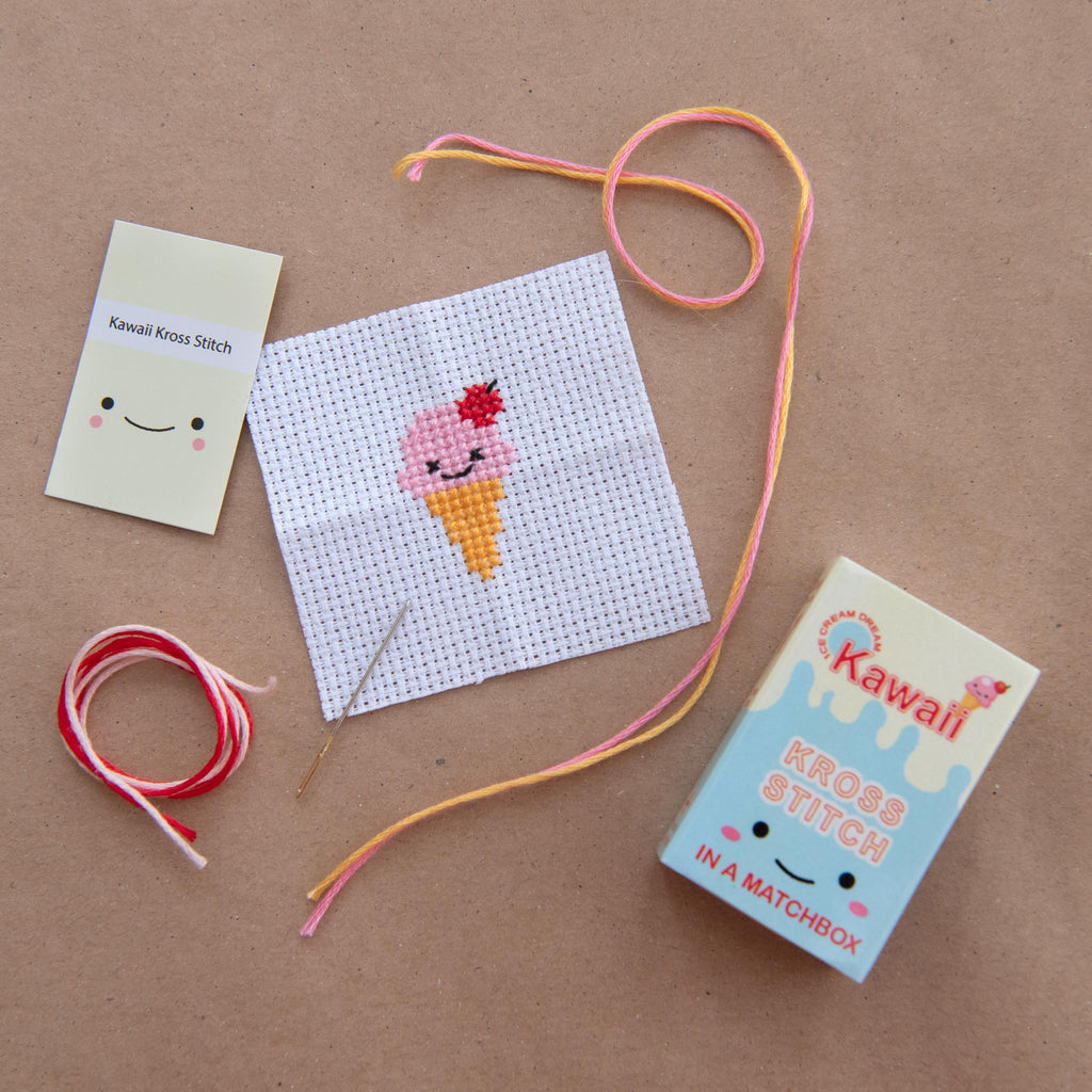 Mini Cross Stitch Kit With Kawaii Ice Cream Design
