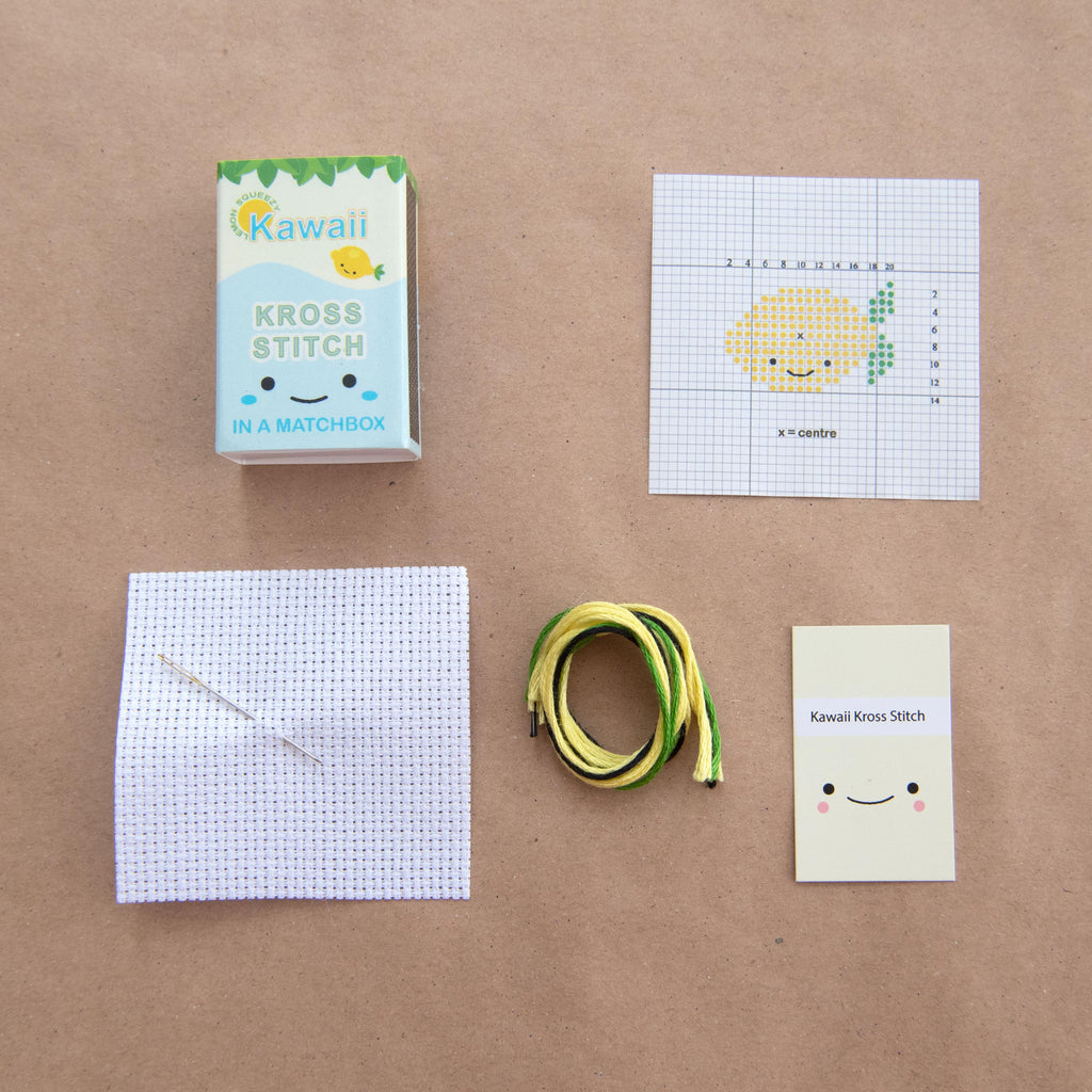 Kawaii Lemon Mini Cross Stitch Kit