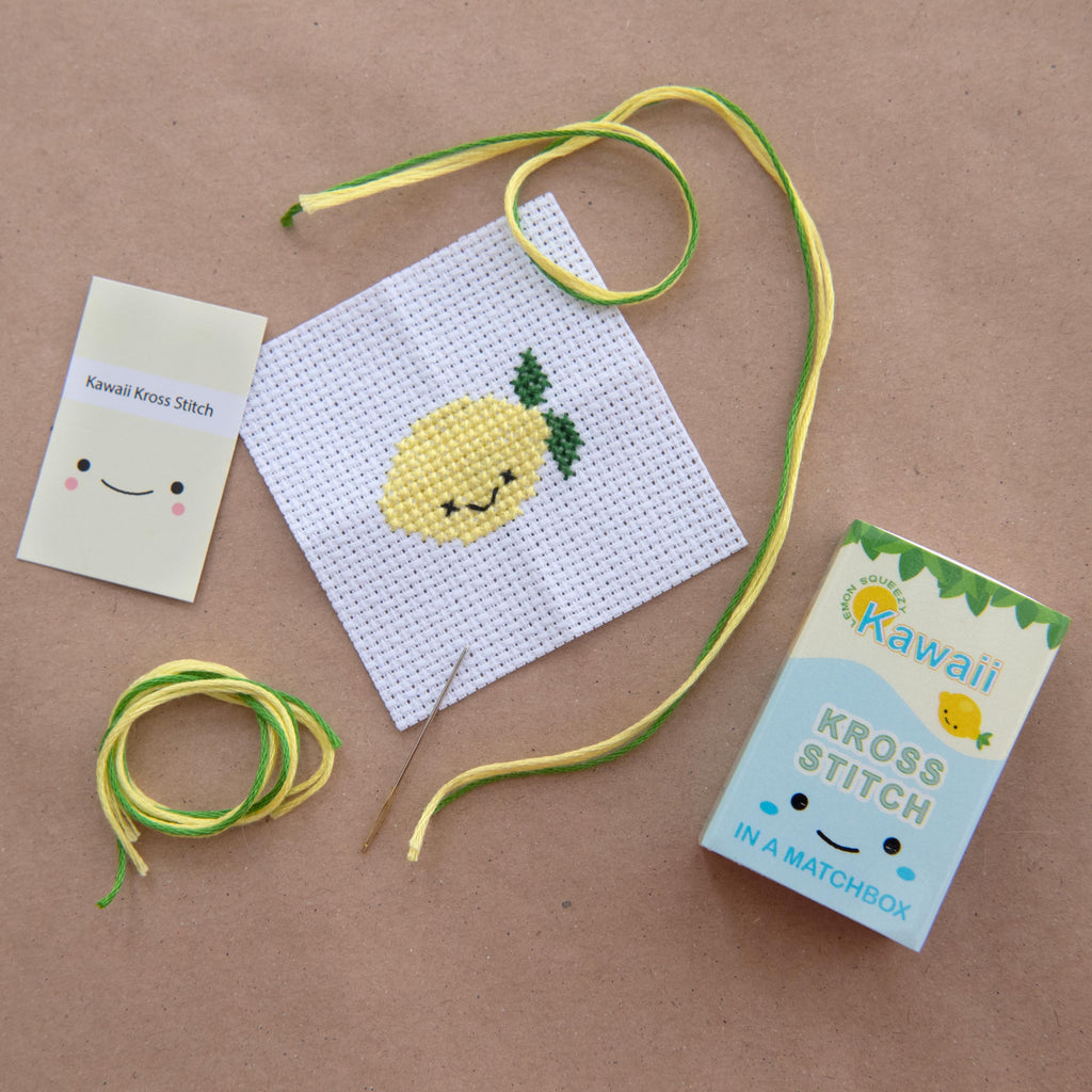 Mini Cross Stitch Kit With Kawaii Lemon Design