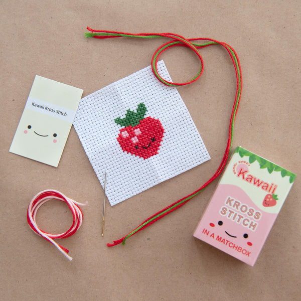 Mini Cross Stitch Kit With Kawaii Strawberry Design