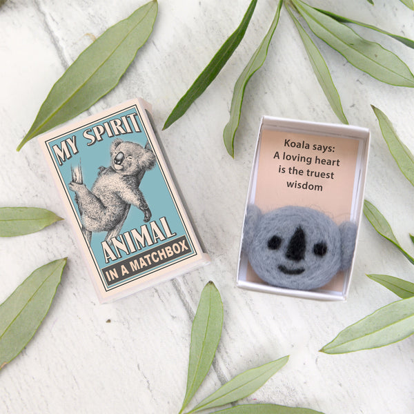 Wool Felt Koala Spirit Animal Gift In A Matchbox