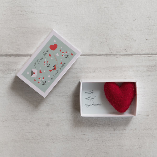 'I Love You' Message And Wool Felt Heart Gift In A Matchbox