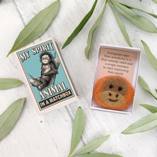 Wool Felt Orangutan Spirit Animal Gift In A Matchbox